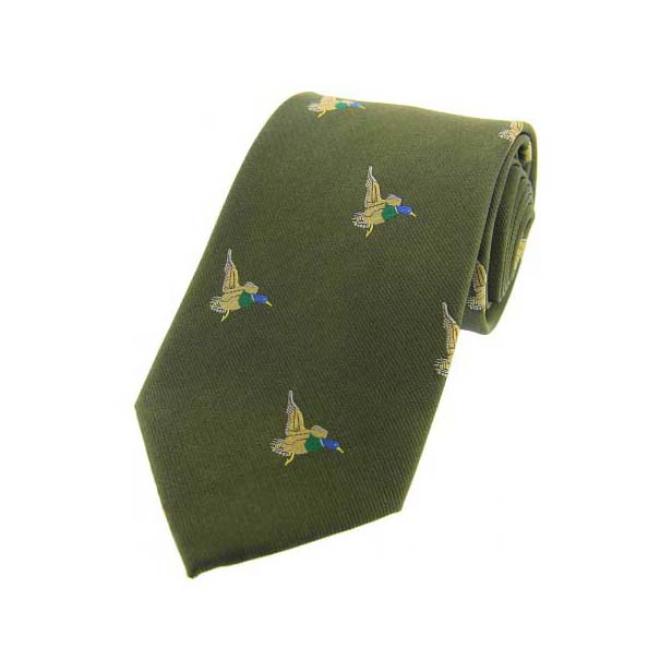 Flying Ducks on Country Green Country Silk Tie