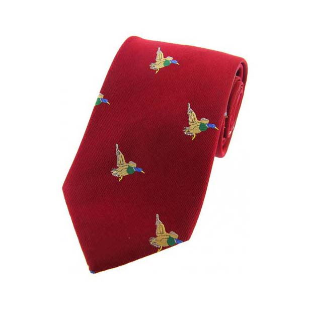 Flying Ducks on Red Country Silk Tie