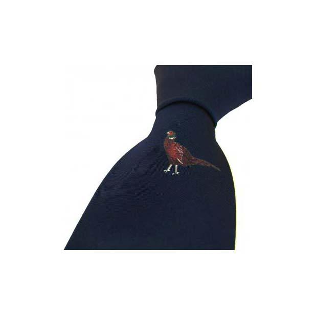 Single Standing Pheasant on a Navy Silk Tie