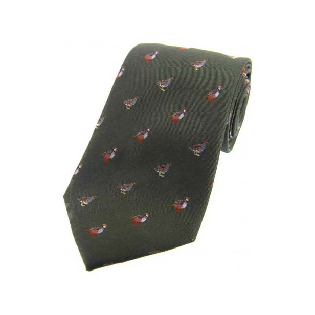 Grouse and Partridge on Green Country Silk Tie