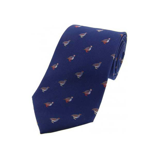 Grouse and Partridge on Blue Country Silk Tie
