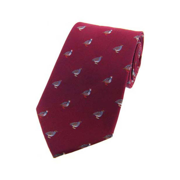 Grouse and Partridge on Wine Country Silk Tie