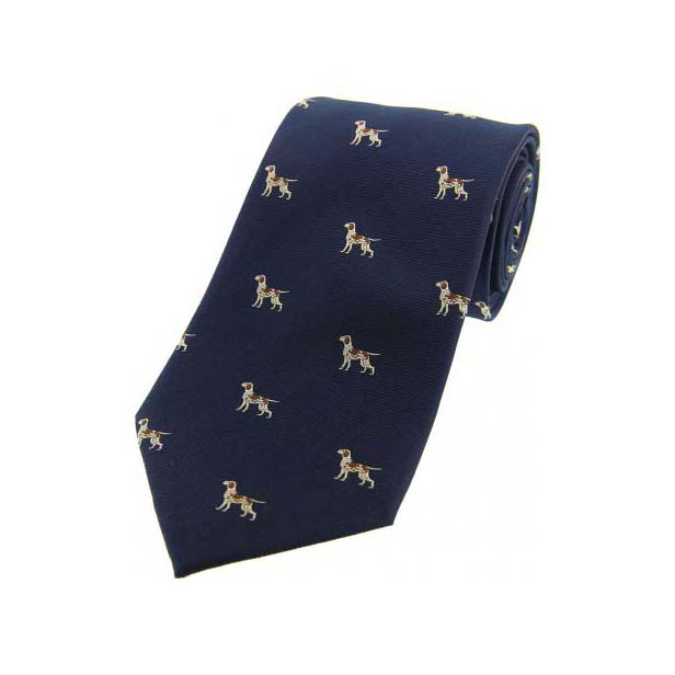 Pointer Dogs on Blue Country Silk Tie