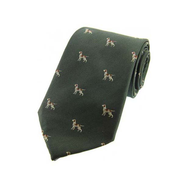 Pointer Dogs on Green Country Silk Tie