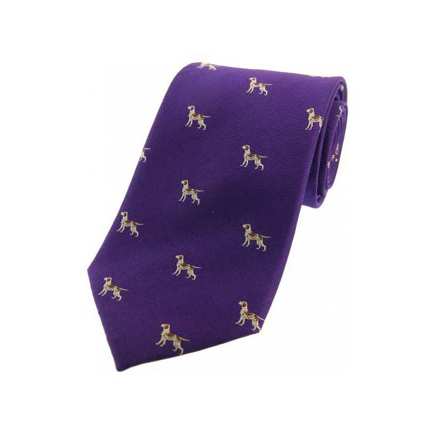 Pointer Dogs on Purple Country Silk Tie