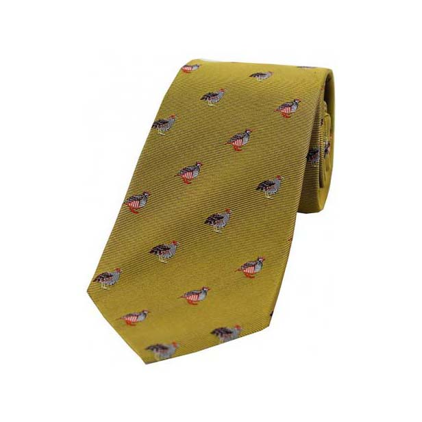 Grouse and Partridge on Mustard Country Silk Tie