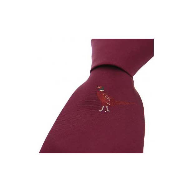 Single Standing Pheasant on Wine Country Silk Tie