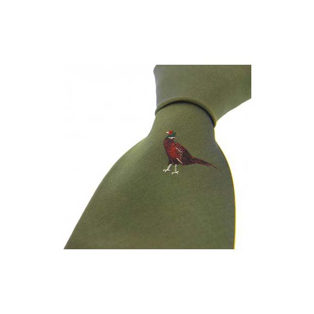 Single Standing Pheasant on Green Country Silk Tie