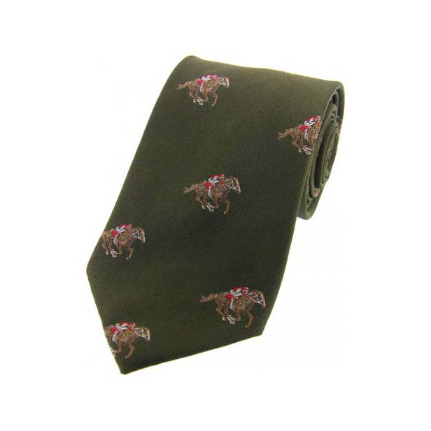 Jockeys and Horses on Green Country Silk Tie
