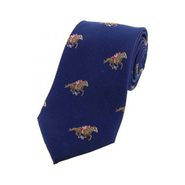 Jockeys and Horses on Blue Country Silk Tie