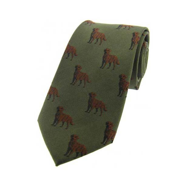 Chocolate Labradors on Green Country Silk Tie