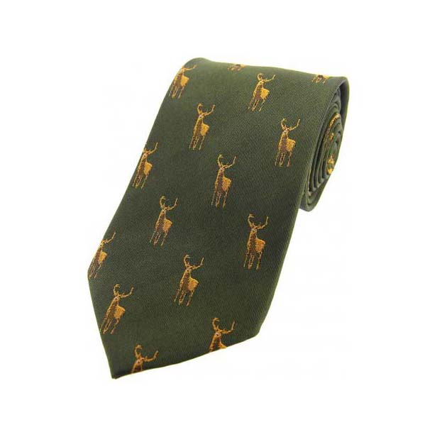 Standing Stags on Green Country Silk Tie