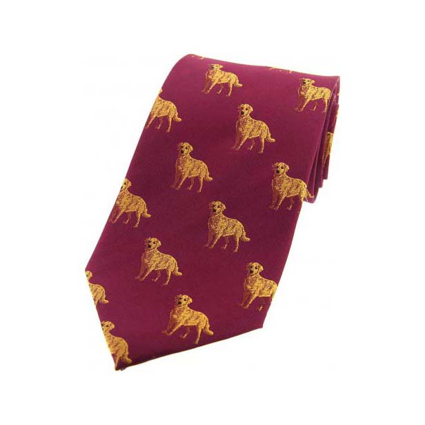 Golden Labradors on Wine Country Silk Tie