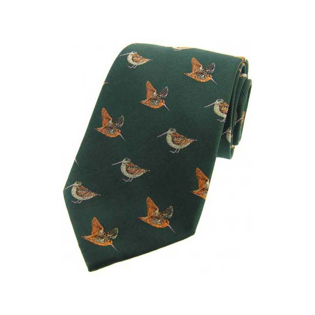 Woodcocks on Country Green Country Silk Tie