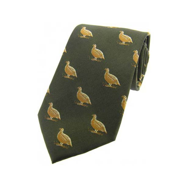 Grouse on Country Green Country Silk Tie