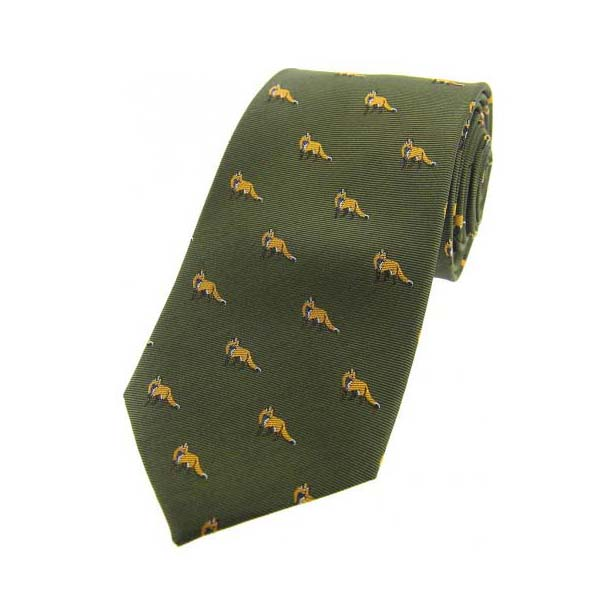 Foxes on Green Country Silk Tie