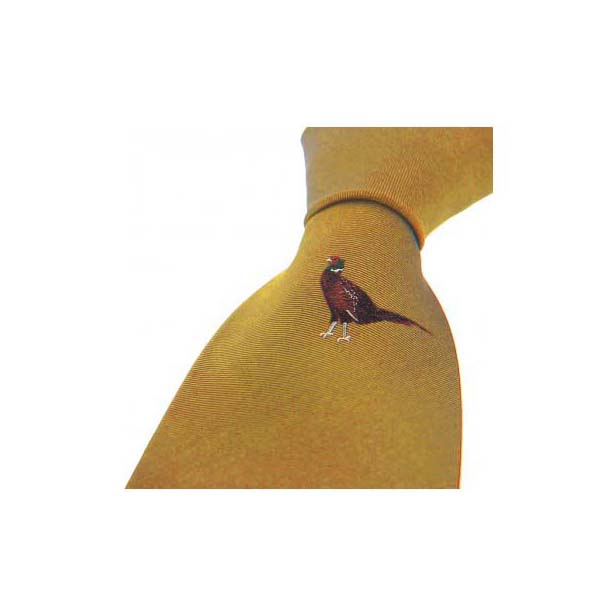 Single Standing Pheasant on Mustard Country Silk Tie