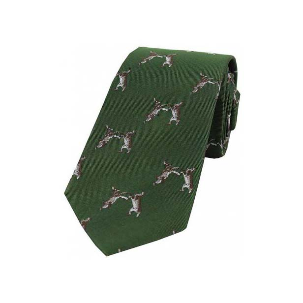 Boxing Hares on Country Green Country Silk Tie