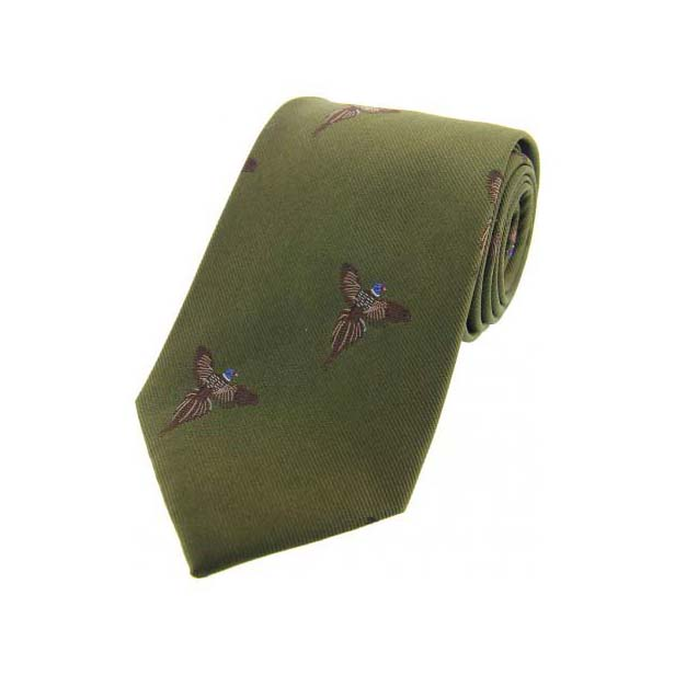 Flying Pheasants on Country Green Country Silk Tie