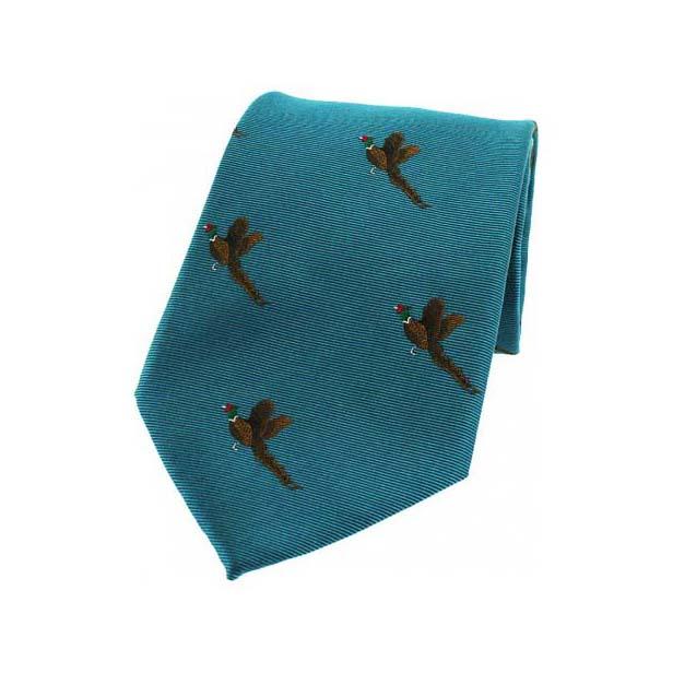 Flying Pheasants on Cyan Country Silk Tie