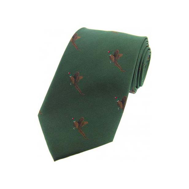 Flying Pheasants on Green Country Silk Tie