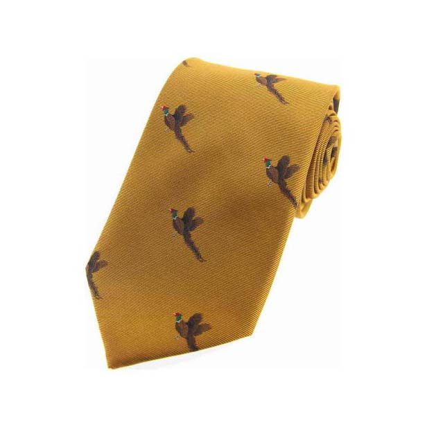 Flying Pheasants on Golden Country Silk Tie