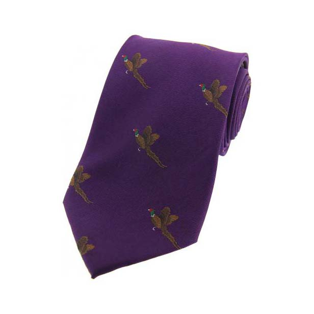 Flying Pheasant on Purple Country Silk Tie
