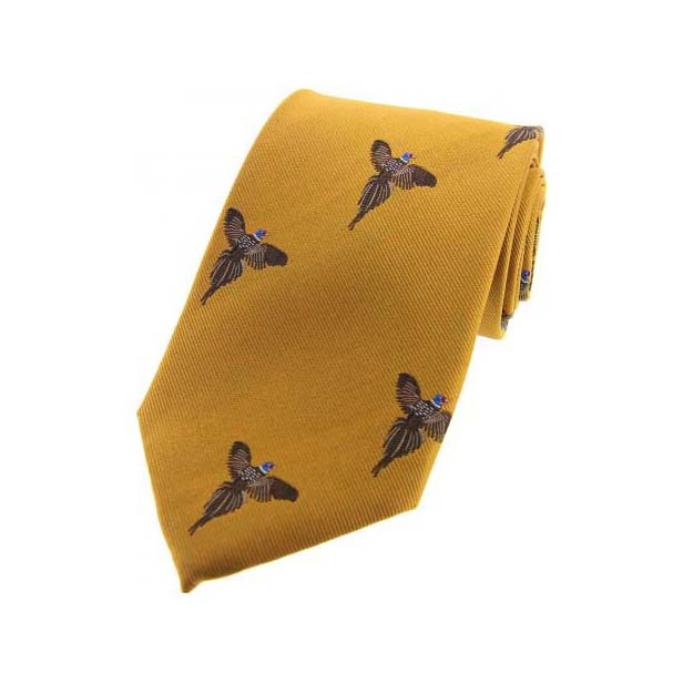 Flying Pheasants on Gold Country Silk Tie