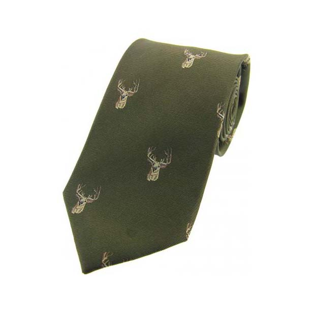 Stags Heads on Green Country Silk Tie