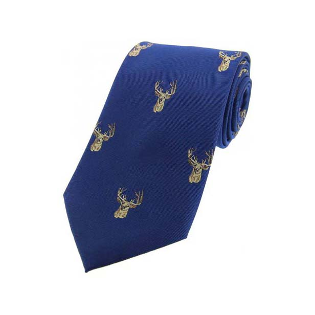 Stags Heads on Blue Country Silk Tie