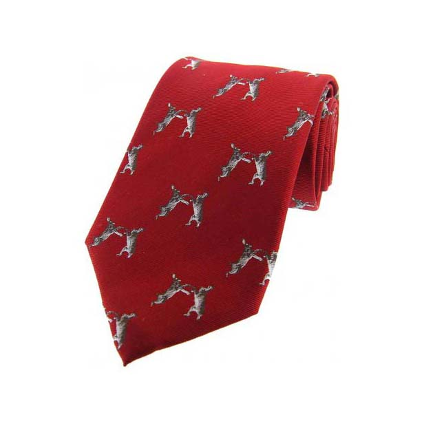 Boxing Hares on Red Country Silk Tie