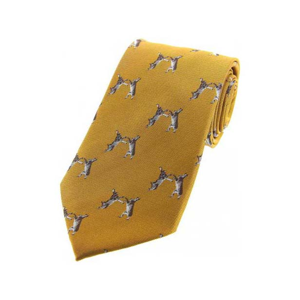 Boxing Hares on Gold Country Silk Tie