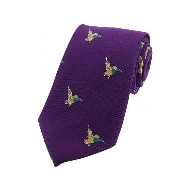 Flying Ducks on Purple Country Silk Tie