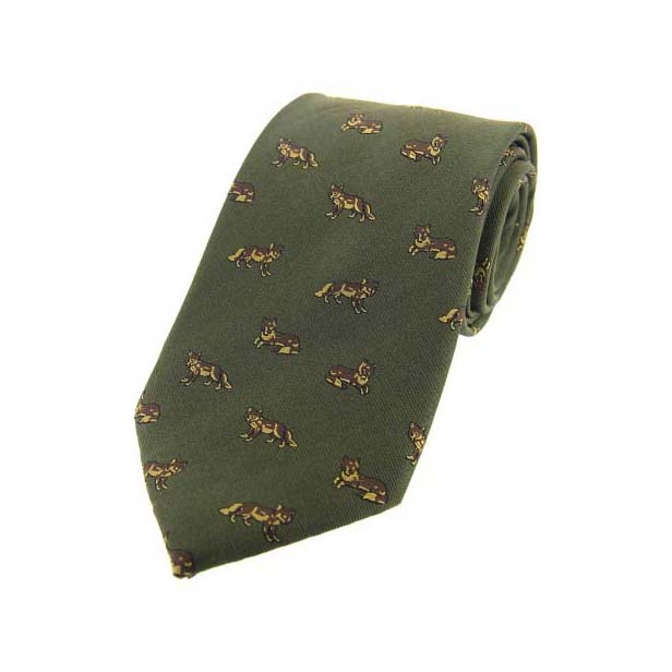 Dark Foxes on Green Country Silk Tie