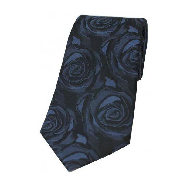 Navy Rose Patterned Silk Tie