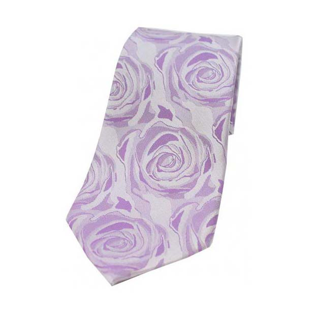 Lilac Rose Patterned Silk Tie