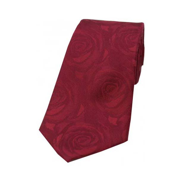 Wine Rose Patterned Silk Tie