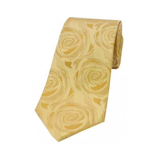 Gold Rose Patterned Silk Tie