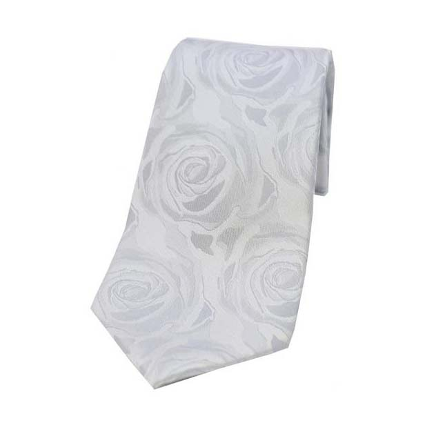 Silver Rose Patterned Silk Tie