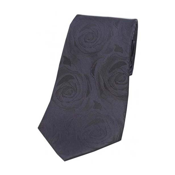 Grey Rose Patterned Silk Tie