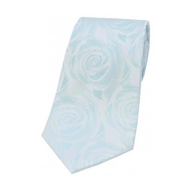 Sky Blue Rose Patterned Silk Tie