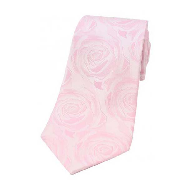 Pale Pink Rose Patterned Silk Tie