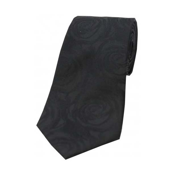 Black Rose Patterned Silk Tie