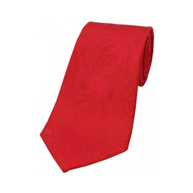 Red Rose Patterned Silk Tie