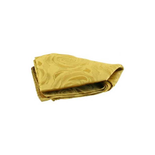 Gold Rose Patterned Silk Pocket Square