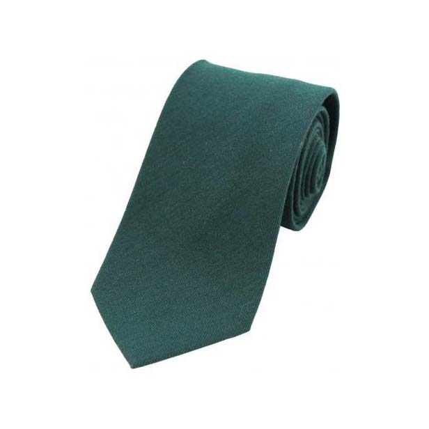 Plain Dark Green Wool Rich Tie