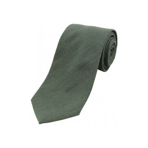 Plain Country Green Wool Rich Tie