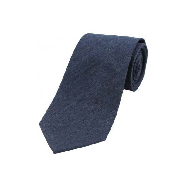 Plain Navy Wool Rich Tie