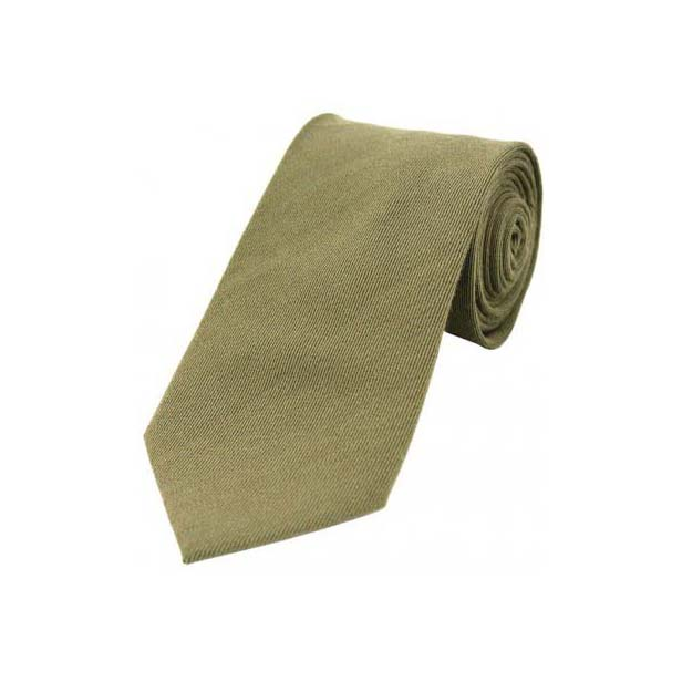 Plain Wood Green Wool Rich Tie