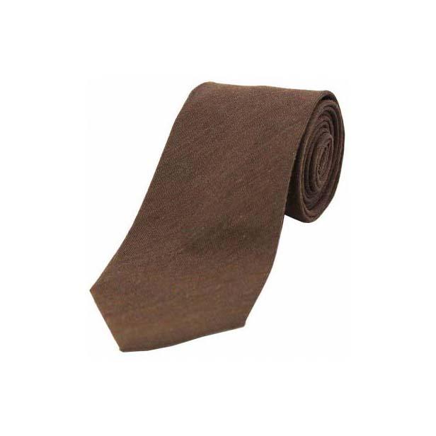 Plain Chocolate Brown Wool Rich Tie
